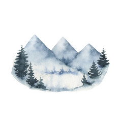 Watercolor winter landscape with mountains vector