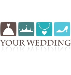 Wedding icons and graphic elements vector image