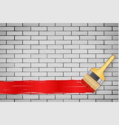 white brick wall and brush vector image