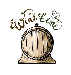 wine time watercolor grape leaves and barrel vector image