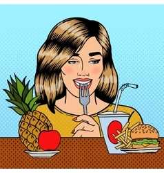Woman Choosing Between Fruits and Fast Food vector