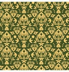 wooden floral damask seamless pattern background vector image