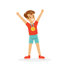 Young happy boy with a first place medal athletes vector