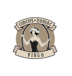 Zodiac circus emblem virgo sign young trapeze vector