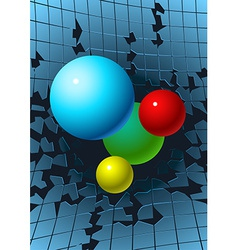 Balls breaking glass vector image vector image
