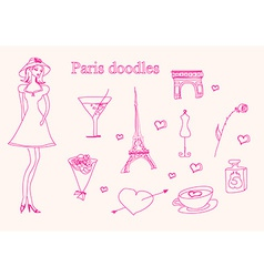 Paris doodles set vector image