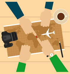 Two men planning vacation trip with map vector