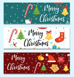 merry christmas set of banners template with vector image vector image