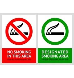 No smoking and Smoking area labels vector image vector image