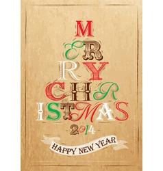 Poster Tree Christmas Happy Kraft color vector image vector image
