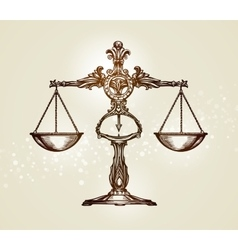 Vintage scales of justice Hand-drawn sketch vector image