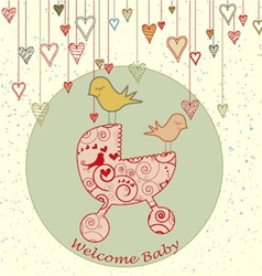 A cute card with birds holding a stroller and vector image vector image