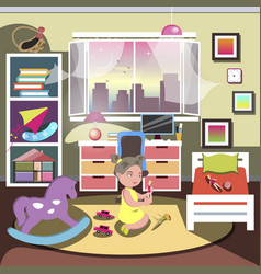 little girl in her bedroom vector image vector image