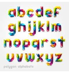 Polygon alphabet colorful font style vector image vector image