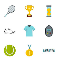 tennis attributes icons set flat style vector image