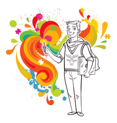 artist-designer with laptop and stylus vector image