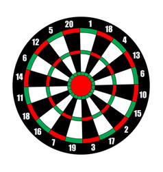 dart board dart target isolated on white vector image vector image