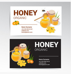 organic honey business card template white vector image vector image