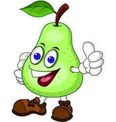 Pear cartoon character vector image vector image
