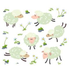 sheeps set vector image