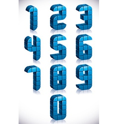 3d cubes numbers set vector image