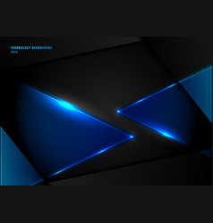 Abstract blue triangles with lighting laser on vector