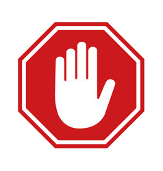 Adblock or red stop sign with hand icon vector