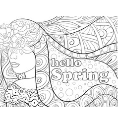 adult coloring bookpage a fairy spring vector image