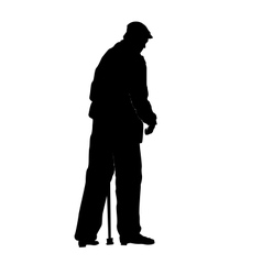 an old man with a stick vector image