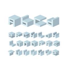 architectural volume font vector image