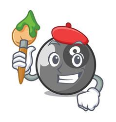 artist billiard ball character cartoon vector image