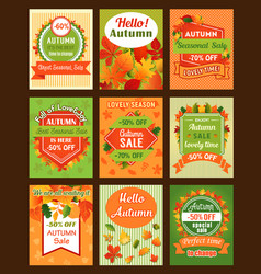 autumn season sale retro banner and tag set design vector image