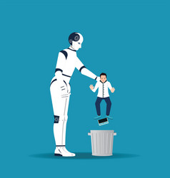 big robotic hand holding little businessman in vector image