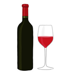Bottle and glass red wine vector