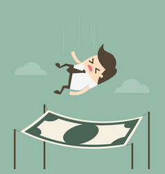 Businessman falling into a financial safety net vector