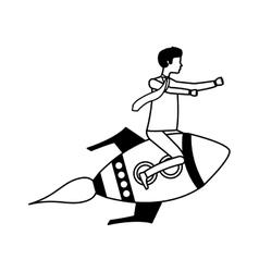 Businessperson flying avatar in rocket vector
