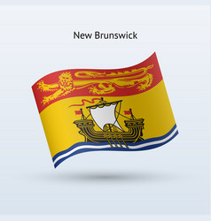 Canadian province of new brunswick flag waving vector