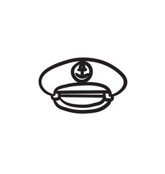 Captain peaked cap sketch icon vector