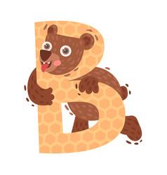 Cartoon bear with letter b vector
