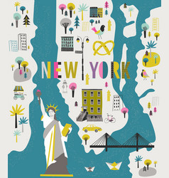 Cartoon map new york with legend icons vector