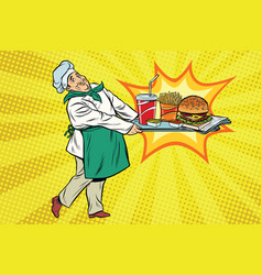 chef brings a tray fast food vector image