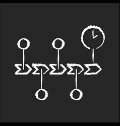 Chronology chalk white icon on black background vector