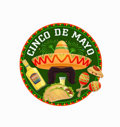 Cinco de mayo round icon mexican holiday vector