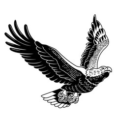Classic american wild eagle emblem in fly vector
