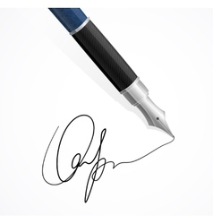 Close up a fountain pens and signature vector