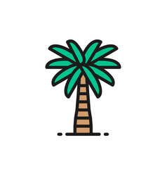 Coconut palm tree flat color line icon isolated vector
