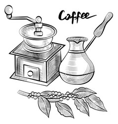 Coffee pot and beans grinder with branch vector
