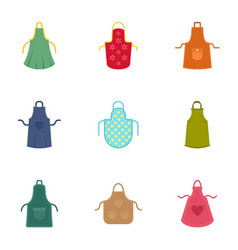 Colorful apron icon set flat style vector