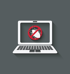 Computer bug warning symbol vector