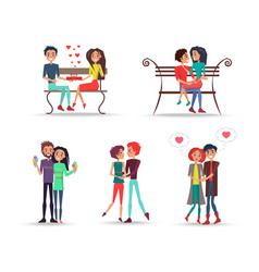 Concept of couples in love on white background vector